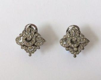 Vintage 1930's Art Deco Geometric Diamond Shaped Paste Rhinestone Raymond Yard Style Clip On Earrings