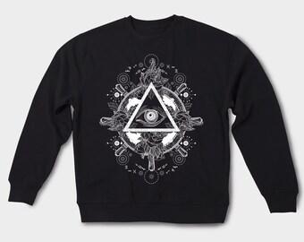 Illuminati Lara Croft Mason shirt Illuminati pyramid Dollar Eye sweatshirt Occult Illuminati gift idea Secret society America the USA GOS031