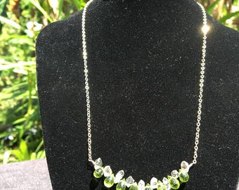 Peridot Herkimer Diamond Quartz Necklace with Sterling Silver