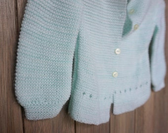 1980s Minty Handmade Newborn Cardigan
