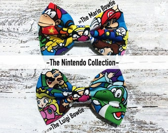 The Nintendo Bow Tie Collection - The Mario Bowtie - The Luigi Bowtie Bowtie - Bow - Bow Tie - Pet Bowtie - Cat Bow - Dog Bowtie