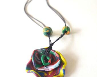 Large Rainbow Petal Necklace