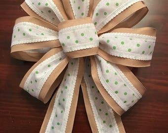 Green Polka Dot and Burlap Bow