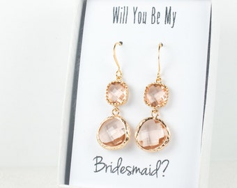 Long Peach Gold Earrings, Gold Blush Earrings, Champagne Gold Earrings, Bridesmaid Jewelry, Peach Wedding Jewelry, Bridal Accessories
