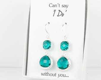 Long Teal Blue Silver Earrings, Silver Teal Blue Green Earrings, Teal Silver Earrings, Bridesmaid Earrings, Teal Wedding Jewelry