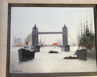 Oil On Canvas, Signed H. Mann - London Bridge