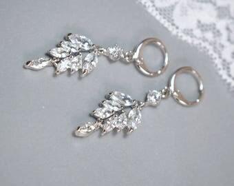 Cubic Zirconia Wedding Earrings, CZ Wedding Earrings, CZ Bridal Earrings, Clear Cubic Zirconia Earrings, Bridal Earrings