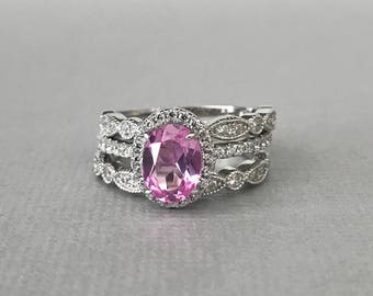 Art Deco Oval Pink Sapphire Simulated Diamond Engagement Sterling Silver 3PC Fancy Wedding Promise Band
