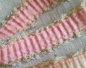 RARE 1920s Flapper Garter Ribbon, Gathered and Ruffled, in Pink, Antique Ribbon, Garter Trim, Flapper, Lingerie, Costuming, Sewing, Fashion