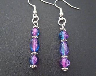Blue, Pink, & silver beaded earrings