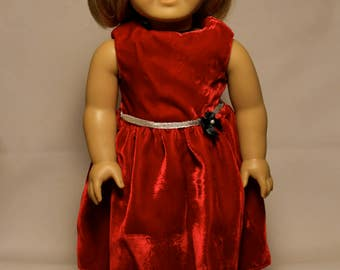 Red Velvet Dress-Made to fit 18 inch Dolls like American Girl Doll Clothes