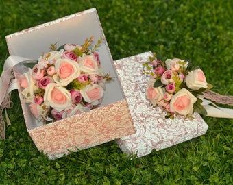 Bridal bouquet set, wedding bouquet, wedding flowers,  Pink magic bouquet, bridal flowers, rustic flowers, costem bouquet, handmade bouquet,