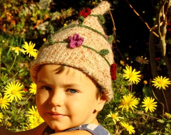Crochet children pixie hat brown with flowers and leaves