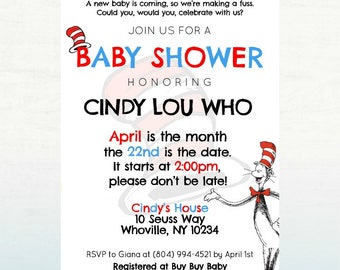 Dr. Seuss Baby Shower Invitation, PRINTABLE Baby Shower Invite, 5x7 DIGITAL FILE