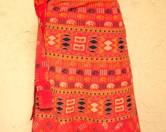 Long Block Print Wrap Skirt India Cotton Skirt Boho Skirt 70s Style Bohemian Skirt Indian Wrap Skirt Kalamkari Skirt Ethnic Hippie Skirt