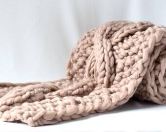 Knit Scarf, Chunky Scarf, Bulky Wool Yarn, Long Scarf, Oversized Knitting, Handmade Scarf, Knitting Gift, Infinity Scarf, Hand Knit Scarf
