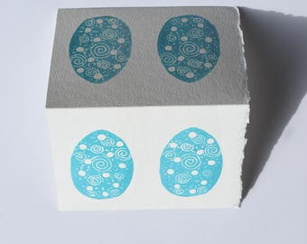 Easter Egg Card, Psyanka Print, Robins Egg Blue, Easter Greeting Card, Egg Block Print, Egg Linocut Notecard, Bird Egg Card, Robin Egg Print