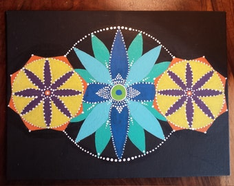 Acrylic Dot Mandala Painting on Flat Canvas