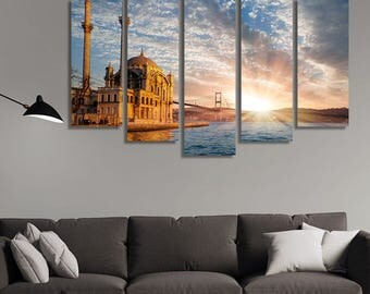 LARGE XL Ortakoy Mosque and Bosphorus Bridge Canvas Print Istanbul, Turkey Canvas Sunset Horizon Wall Art Print Home Decoration - Stretched