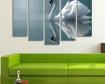 LARGE XL Swan in a Lake Reflection Canvas Wall Art Print Home Decoration - Framed and Stretched - 8002