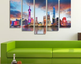 LARGE XL Shanghai Skyline China Skyline Reflection Canvas Wall Art Print Home Decoration - Framed and Stretched - 1042