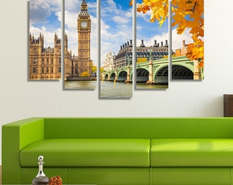 LARGE XL London, Big Ben Canvas Wall Art Print Home Decoration - STRETCHED