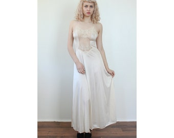 70s Maxi Slip // Vintage Off White Lingerie Slip Dress Sheer Lace - Small to Medium