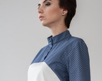 Two-tone shirt, High-necked blouse