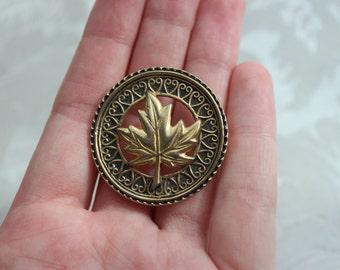 Gold Tone Maple Leaf Brooch Pin