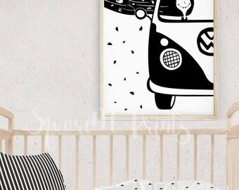 Camping Nursery Decor, VW Camper Print, Girly Room Decor, Black and White Prints, Adventure Nursery, Baby Room Decor, Nursery Wall Art