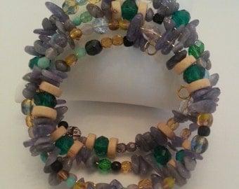 Wrap around bracelet with Tanzanite, Czech glass, green crystal and wood beads ref b5