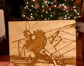 Custom Engraved Stearman on wood