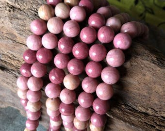 Natural Rhodonite Beads 15.5 inch Round Beads Strands 4.8mm 6.5mm 8.8mm 10.8mm 12mm Round Beads Pink Beads Gemstone XY002