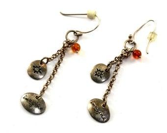 "Vintage ""Imagine"" Chain Drop Dangle Earrings Sterling Silver ER 618"