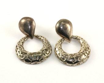 Vintage CI Round Shape Scroll Design Drop Dangle Earrings Sterling Silver ER 868