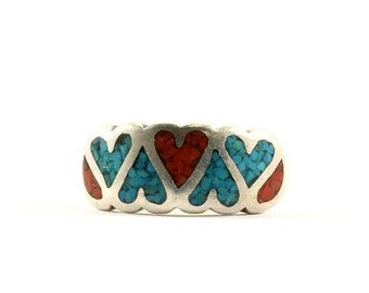 Vintage Navajo Heart Shape Turquoise Coral Chip Band Ring 925 Sterling Silver RG 2114-E