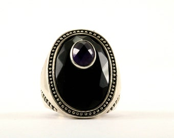 Vintage Large Oval Onyx Amethyst Ring 925 Sterling Silver RG 2378-E