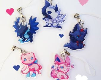 Acrylic Pokemon Charms Sylveon, Mew, Zorua, Absol, Charizard