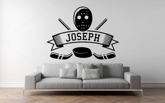 Custom Name Hockey Wall Decal - Personalized Name  - Kids Room Wall sticker - Nursery Wall Decal  - Home Decor - Sport Hockey Stick and puck
