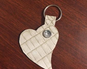 Heart Shaped Crocodile Embossed Leather Keychain - Handmade