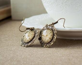 Bohemian earrings - Picture earrings - Boho earrings - Ornament earrings - Beige jewelry - Round earrings - Bronze earrings
