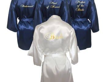 Set of 6 Getting Ready Robes, Set of 6 Satin Robes, Set of 6 Kimono Robes, White and Navy Blue, Kimono Robe Set, Getting Ready Robes