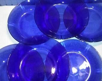 6 Vintage Fortecrisa Mexico, Cobalt Blue Salad Bowls
