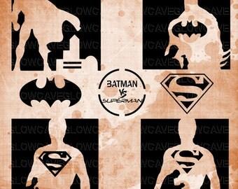 Superman Silhouettes svg file, Superman Clip art, Superman svg, INSTANT DOWNLOAD - svg, png, dxf, eps, jpg