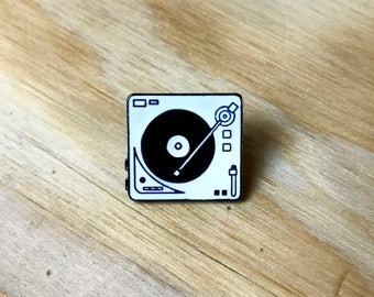 TURNTABLE PIN: Handmade Record Player Enamel Pin | Vinyl Records | Music Pin | Dj / Deejay Gift