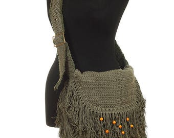 Crochet crossbody Bag with fringe boho cotton yarn khaki. Belt buckle adjusts the length of the handle.