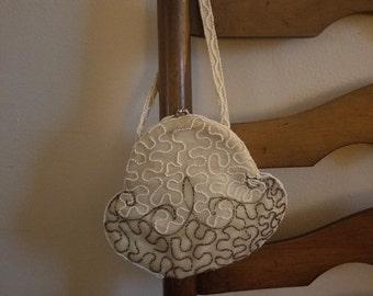 Vintage beaded handbag clutch handmade in belgium