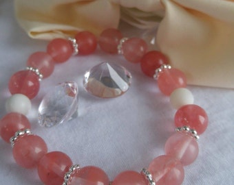 Transparent pink Glass Bead Bracelet