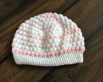 girls puff stitch hat