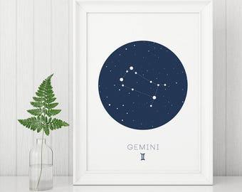 Gemini Print, Gemini wall art, Zodiac Prints, Digital Wall Art, Constellation Prints, Gemini Constellation, Horoscope Print, Navy Nursery